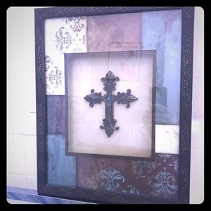 BNWT Hand Painted Glass Picture Art //Sign Featuring Flowers to Right Designer